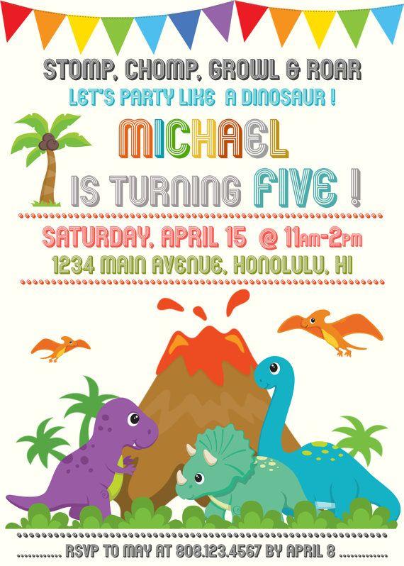 Dinosaur Birthday Invitation Dinosaur Birthday Dino