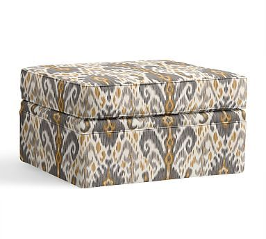 Pearce Storage Ottoman Slipcover Ikat Geo Gray Ottoman