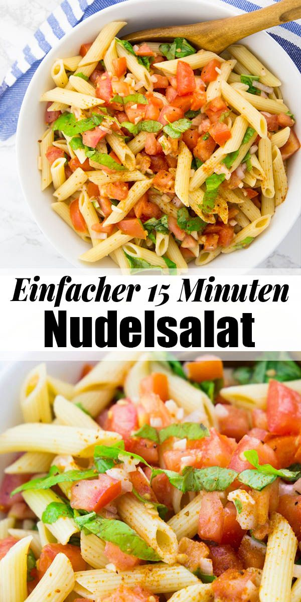 Mediterraner Nudelsalat mit Tomate und Basilikum #easypotluckrecipes