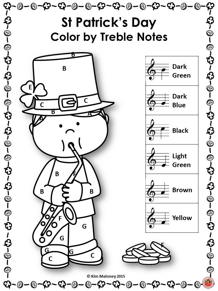 St Patrick S Day Color By Music Note Musiceducation