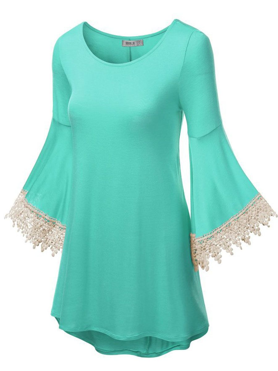 Flare sleeve lace womenus tshirt womenus tops pinterest