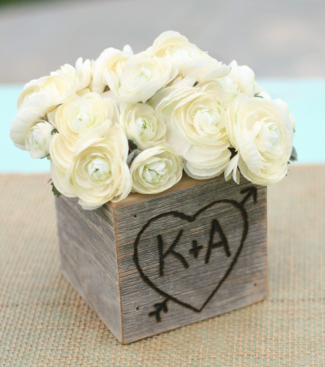 Rustic barn wood planter vase wedding shabby chic personalized item rustic barn wood planter vase wedding shabby chic personalized item e10528 1999 junglespirit Image collections