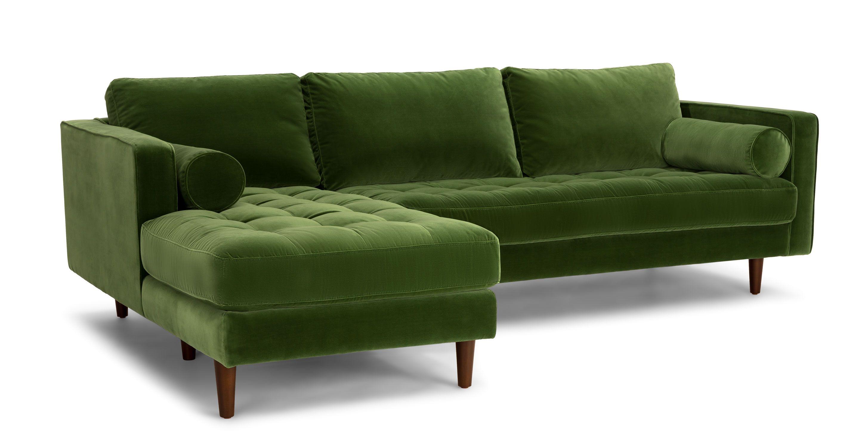 Sven Grass Green Left Sectional Sofa Green