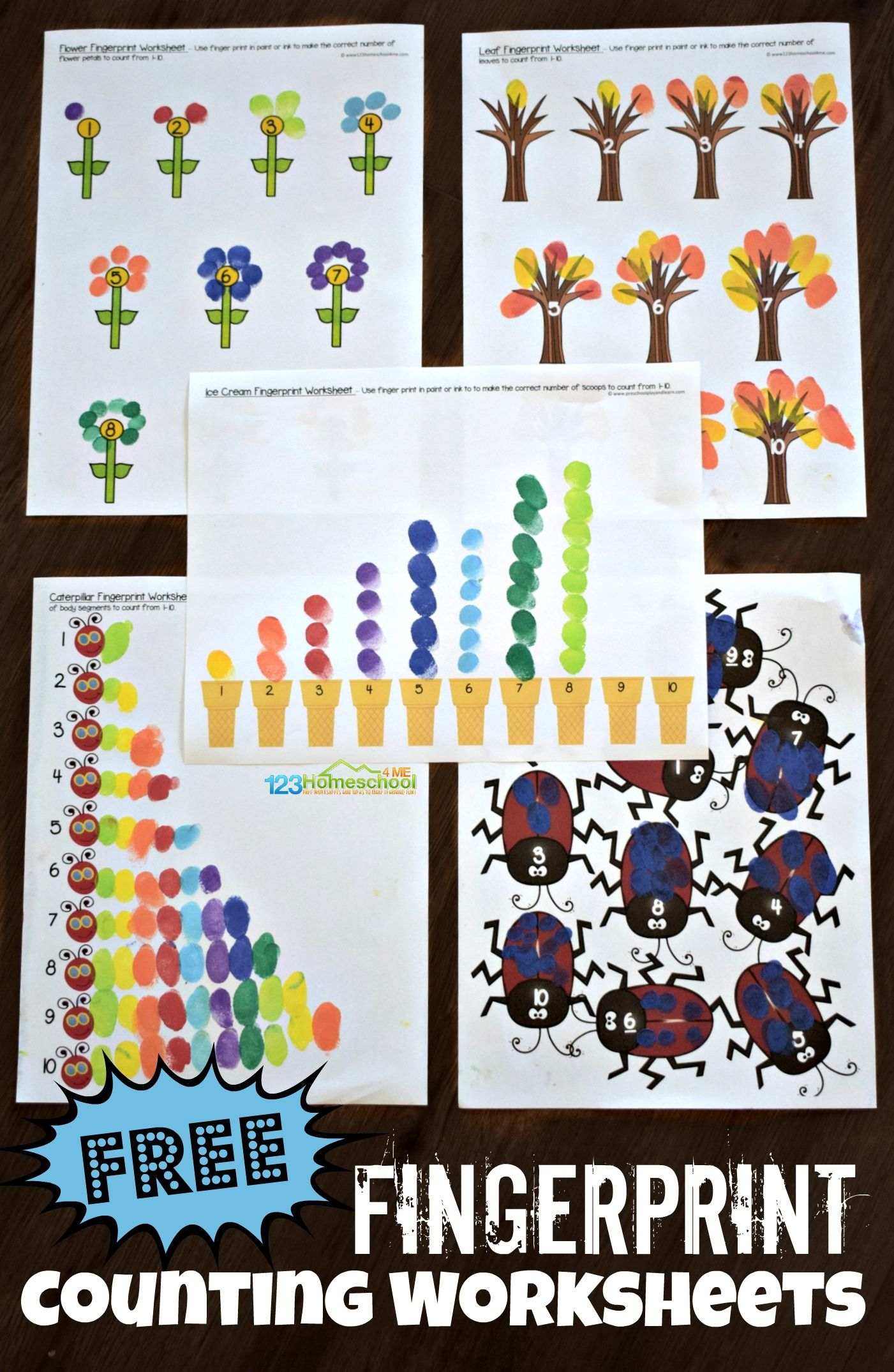 Fingerprint Counting Activity For Kids