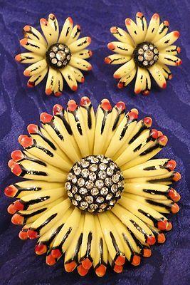 Vintage DuBarry FA Floral Brooch Clip Earring Set Designer Enamel Sunflower Set Costume Jewelry