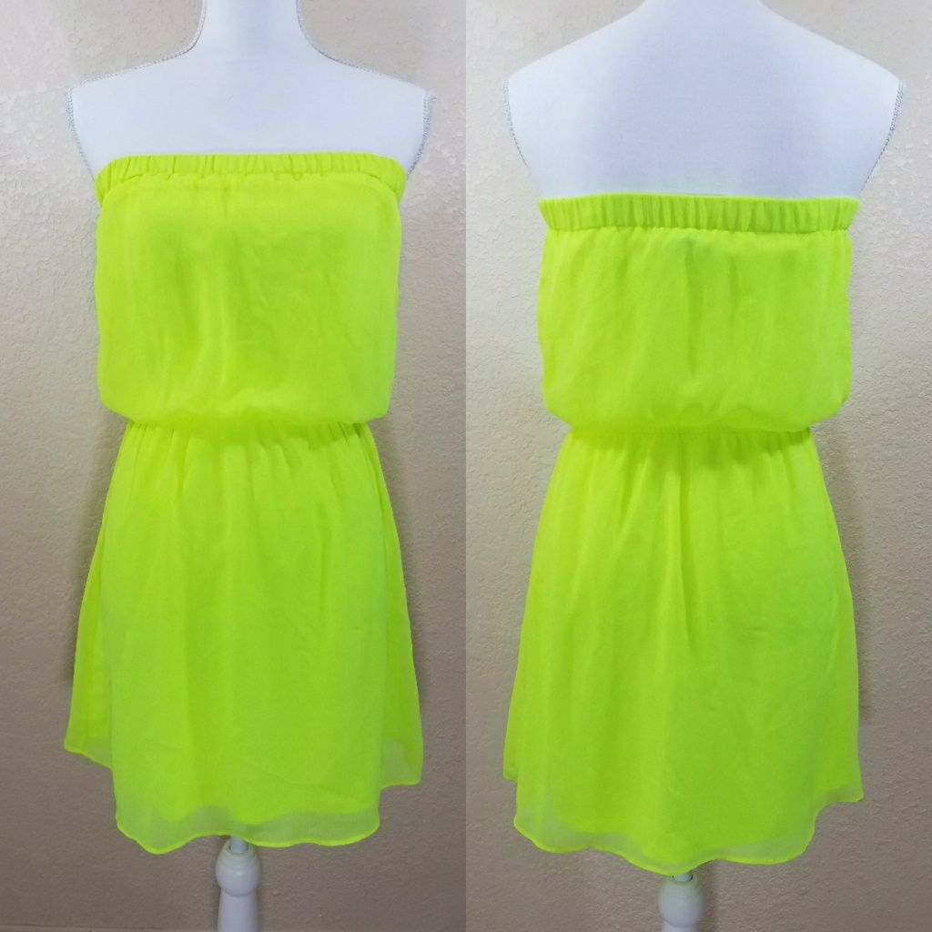 Express neon yellow strapless dress neon yellow and products