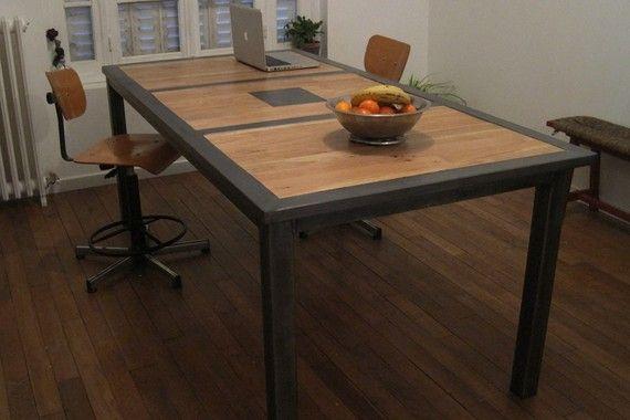 table industrielle bois acier | Мебель | pinterest | table