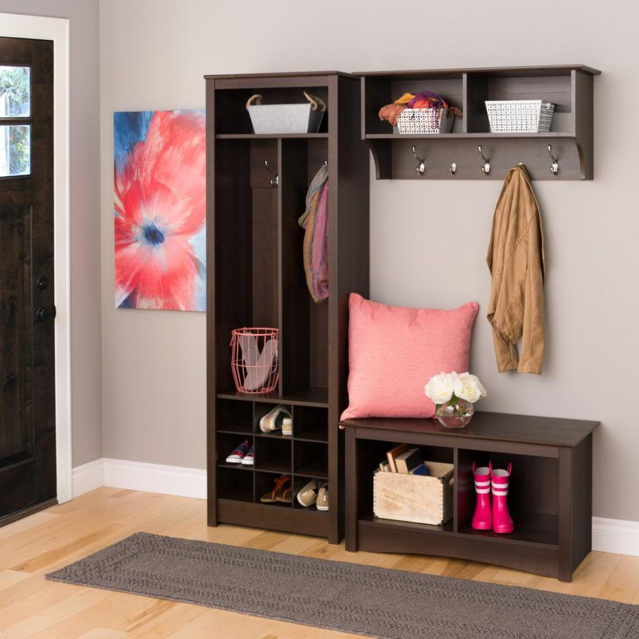 Entryway shoe organizer with cabinet storage and bench also coat hook having 9 cube storage - Entryway decorating ideas for small spaces minimalist ...