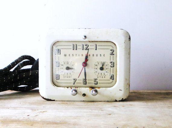 Westinghouse Electric Stove Clock Timer Vintage White Metal Clock