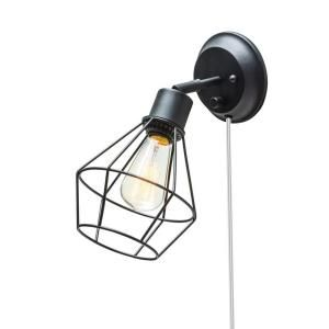 Globe Electric 1 Light Black Shade Plug In Wall Sconce With Clear 6 Ft Cord