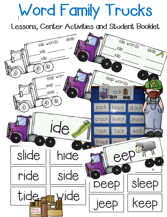 I love these truck word families, we get them out every time we learn a new set of words. This is great for lessons and for a sorting word work activity to do in centers.