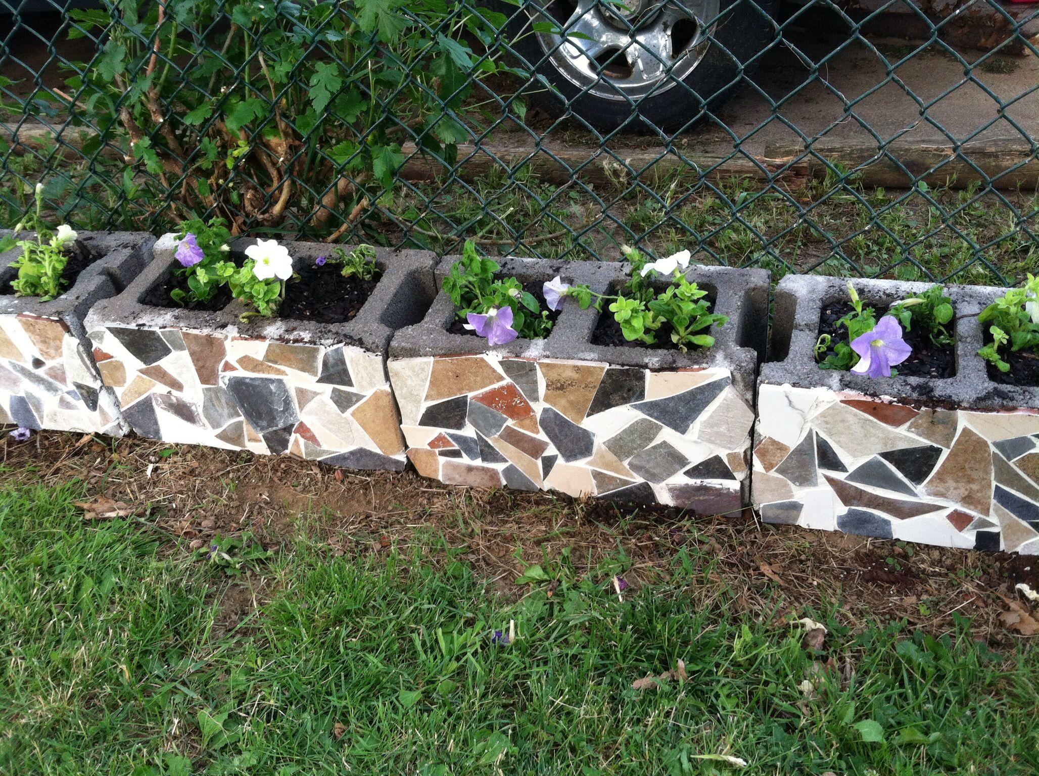 Mosaic cinder blocks completed :)