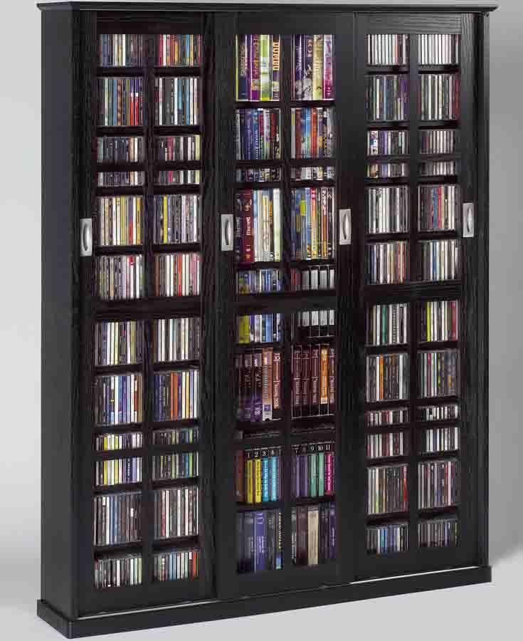 Leslie Dame MS-1050BLK Black Mission Style Sliding Glass Door Multimedia Cabinet