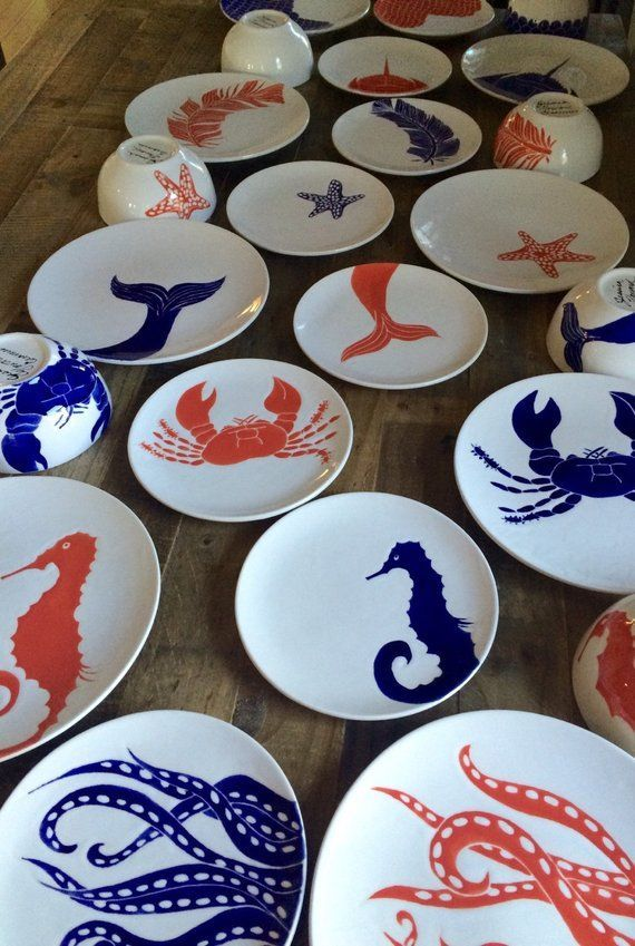 Dinner set for 8 dinner set, Nautical pottery. 24 pieces. Individually free hand drawn, Hand painted