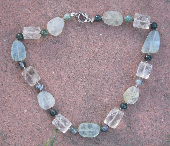 Fluorite Moss Agate and Quartz  Crystal by liquidstarjewelry
