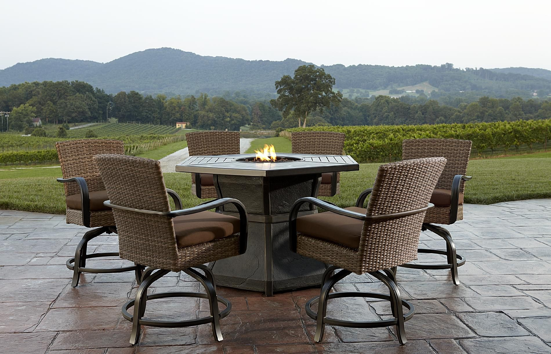 Fire Pit Table And Chairs Set Agio Corseca 7 Piece Bar Set With Firepit Table 1584 99