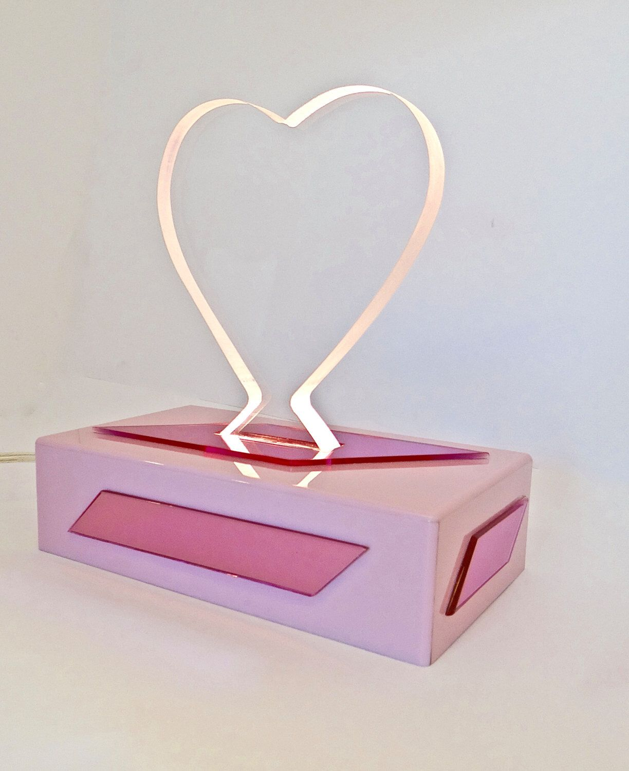 Lucite/Acrylic Heart Shaped Mirrored Accent Nightlight by JoNaiDesigns on Etsy https://www.etsy.com/listing/467056244/luciteacrylic-heart-shaped-mirrored