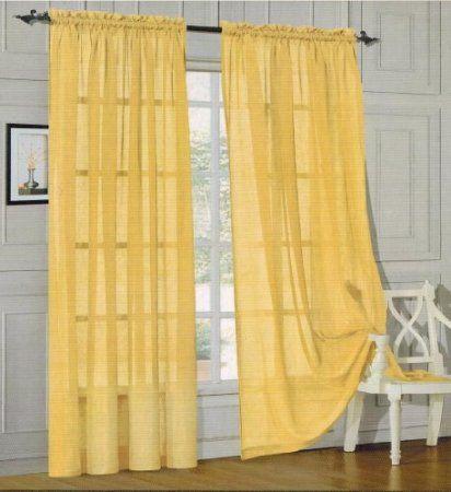 Amazon Com Elegance Linen Sheer Panel With Rod Pocket Window