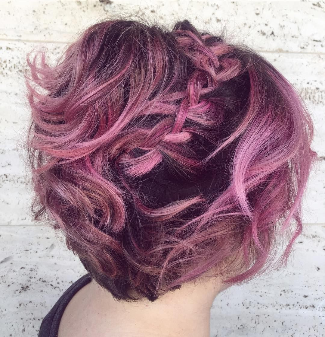 Short Hairstyles For Prom Pink Bob Mit French Braid  Pastell Kurze Frisur  Kurze Frisur