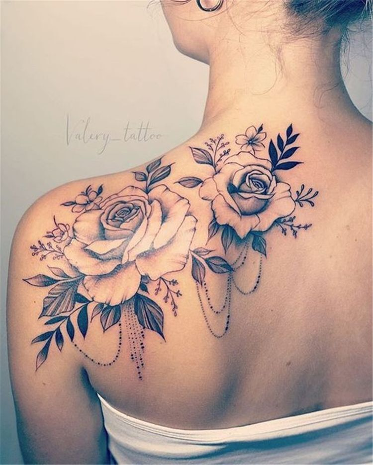 50 Gorgeous And Exclusive Shoulder Floral Tattoo Designs You Dream To Have | Women Fashion Lifestyle Blog Shinecoco.com