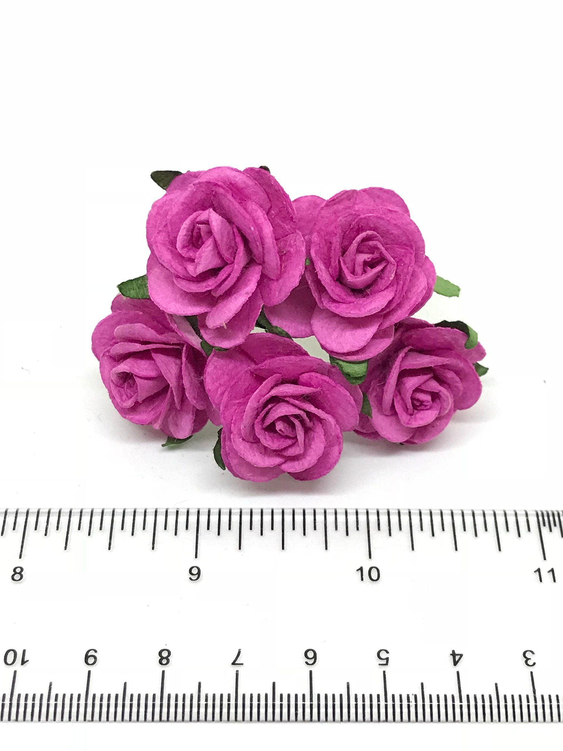 1 Pink Paper Roses Mulberry Paper Flowers Miniature Flowers