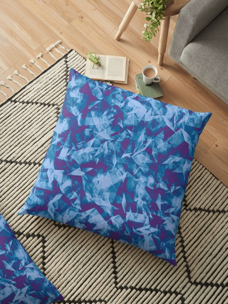 multidimensional overlapping geometrical cubist abstract shapes and forms in navy blue | Floor Pillow