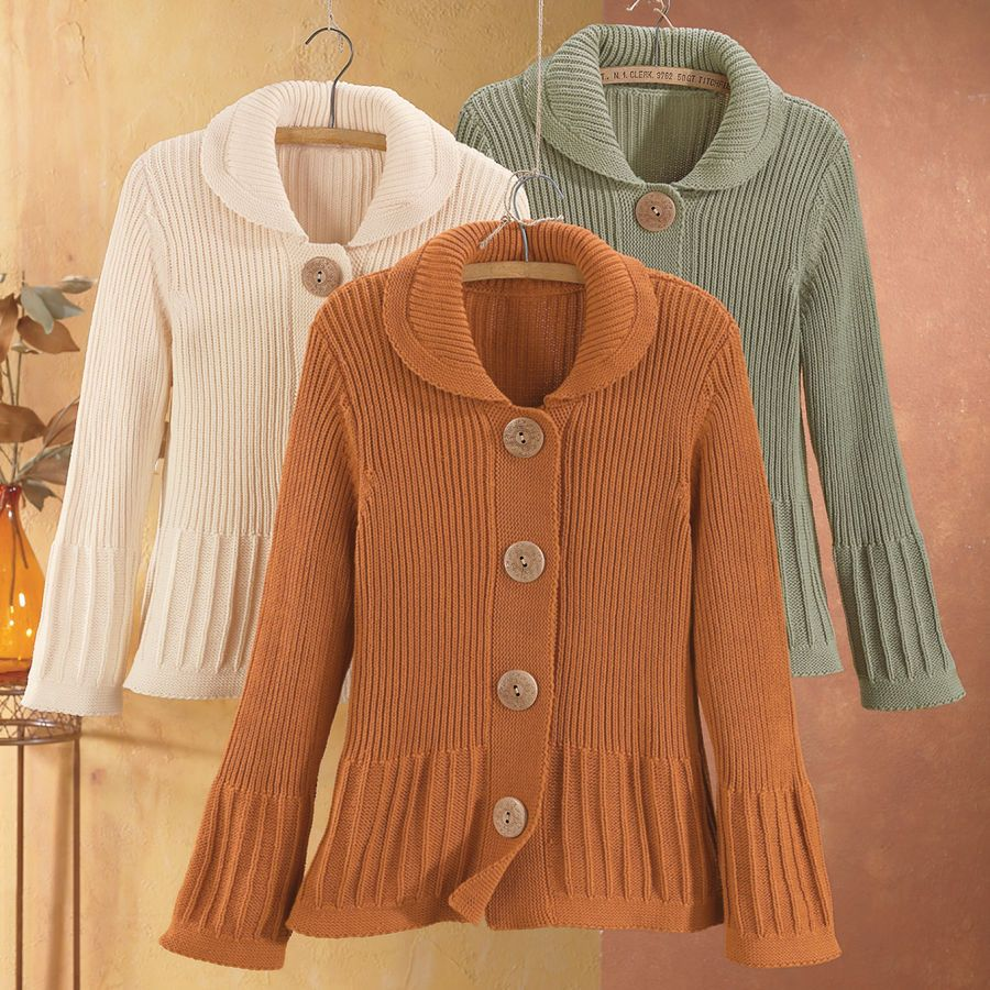 Round Collar Cotton Cardigan - Women's Clothing, Jewelry, Fashion ...
