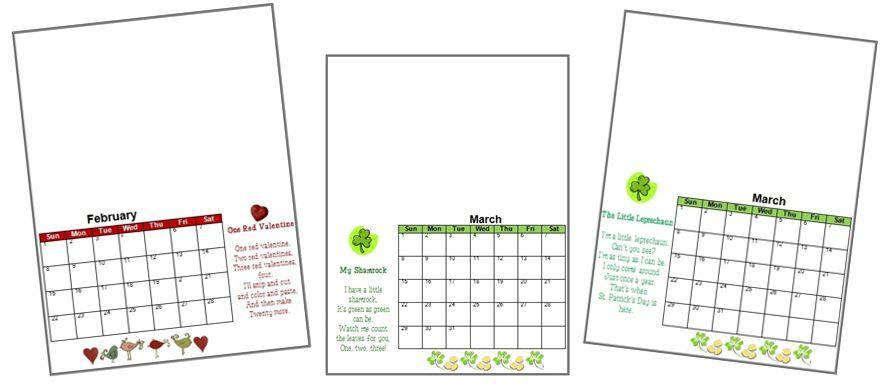 2019 Handprint Calendar Template Printable First Grade Pinterest