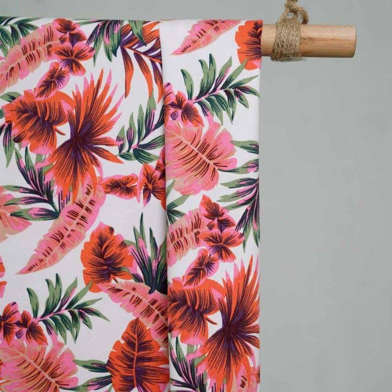 Achat tissu coton au mètre blanc feuillage tropical - Pretty Mercerie