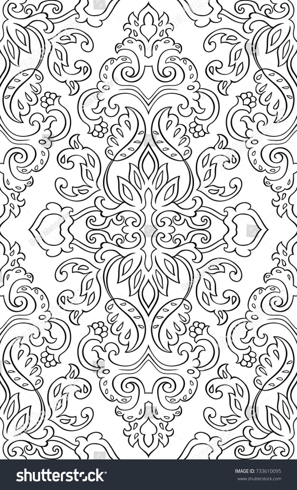 Floral pattern with damask seamless filigree ornament black and