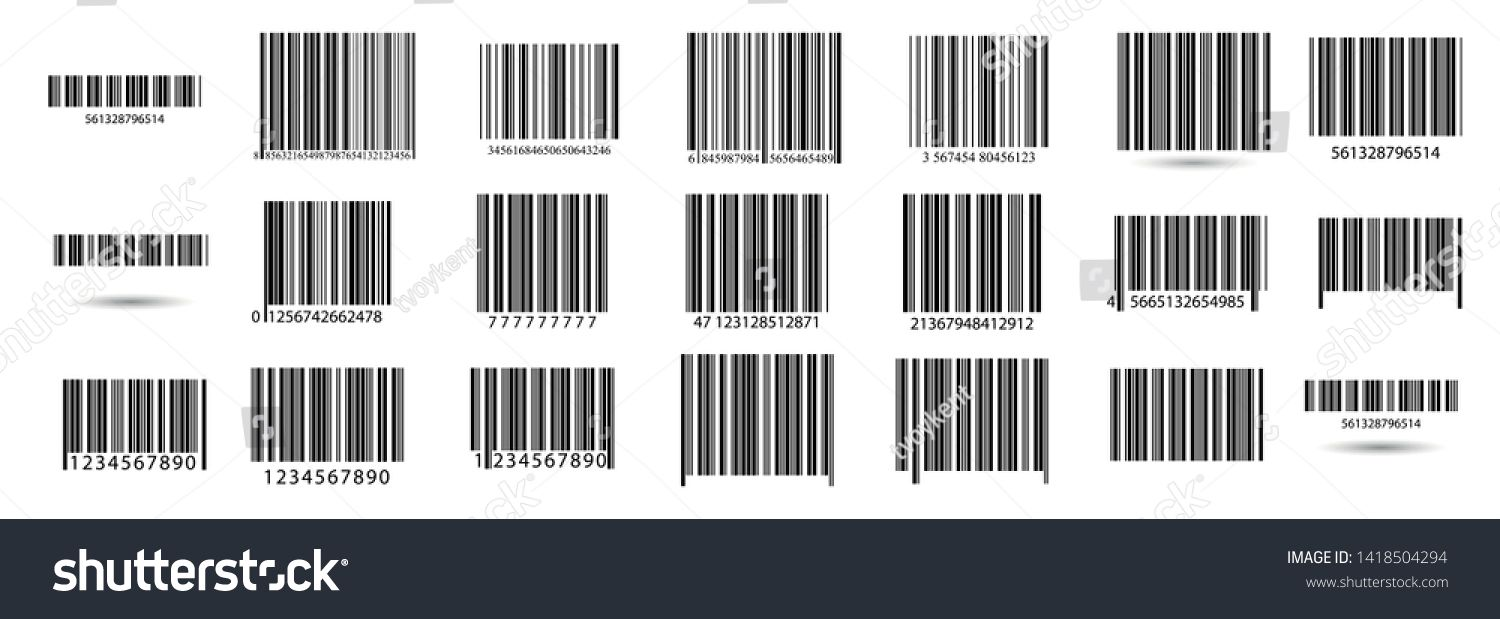 Business barcodes vector set. Black striped code for