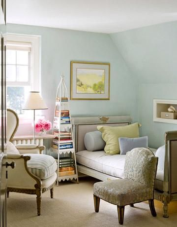 House Beautiful   Bedrooms   Blue, Green, Walls, French, Linen, Bed
