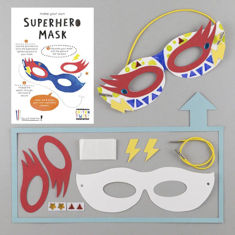 Cardboard Masks To Decorate Cotton Twist Make A Superhero Mask Kit  Party  Pinterest