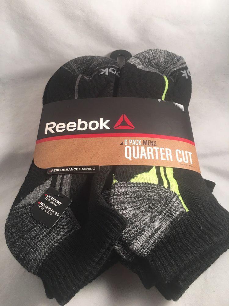 42f31ad2b 6 Pair Reebok Socks Quarter Cut Men's Shoe Size 6-12.5 Black, Gray, Green  (L27) #Reebok #socks #athletic