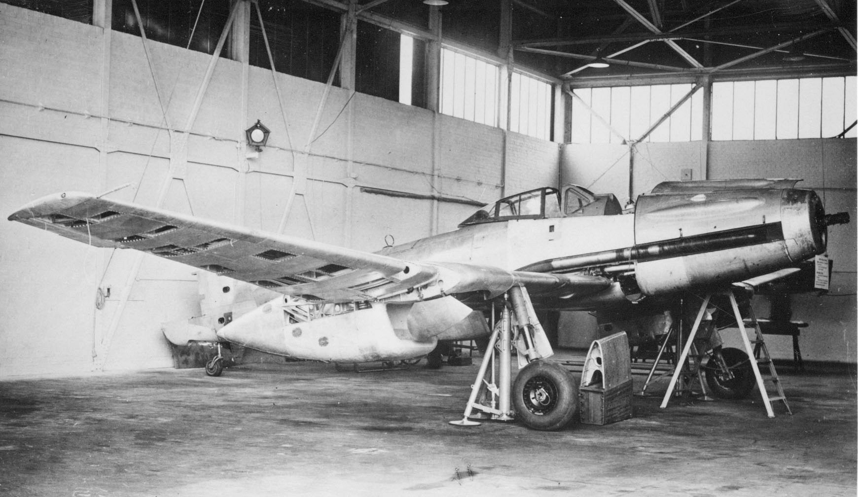 Blohm & Voss Bv 155 B- the Bv 155 V1 was flown for the first time on February 8, 1945, this test being abbreviated as a result of an alarming rise in the coolant temperature shortly after take-off. Second and third flights were made on February 10 and 28 respectively, and a second prototype, the Bv 155 V2, had joined the test program on February 15. the Bv 155 B V3  was shelved when seventy-five per cent complete in favor of the Bv 155 C V4,