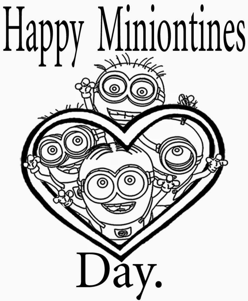 Minion Valentines Day Coloring Pages minion valentines day