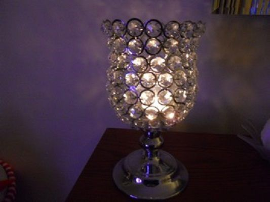 """I have 20 of these beautiful crystal globes. They are so elegant when lit and gives off a rainbow of sparkle against the room walls. You won't regret buying these beauties!  They are 9"""" high.  Only $35.00 each!  Shipping not included.  Thanks for looking"""