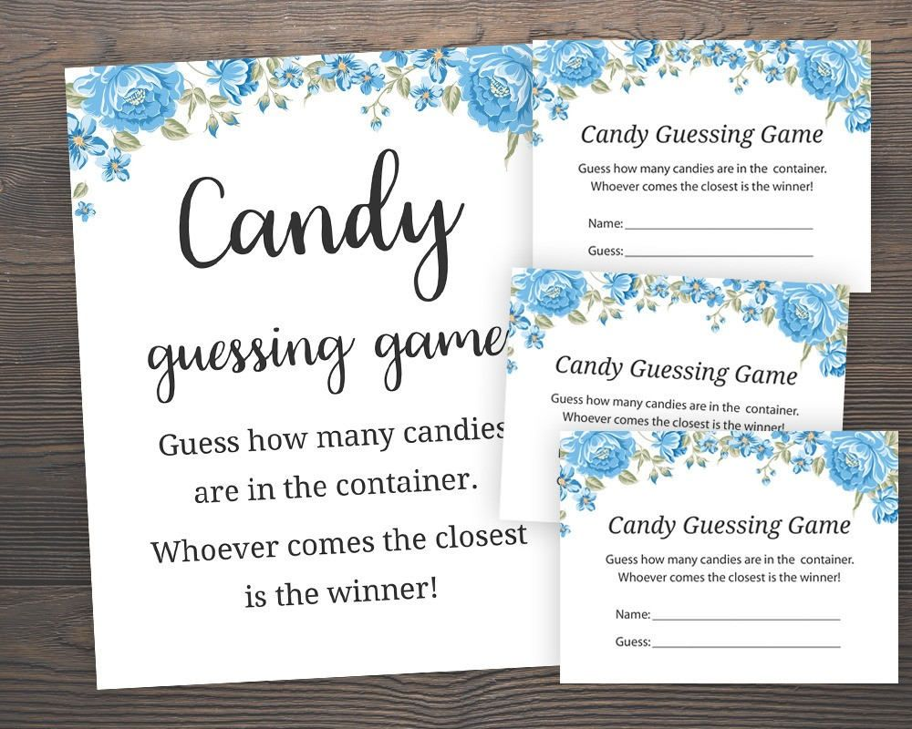 Blue Baby Shower Games Candy Guessing Game Guess How Many Etsy Candy Guessing Game Blue Baby Shower Blue Baby Shower Game