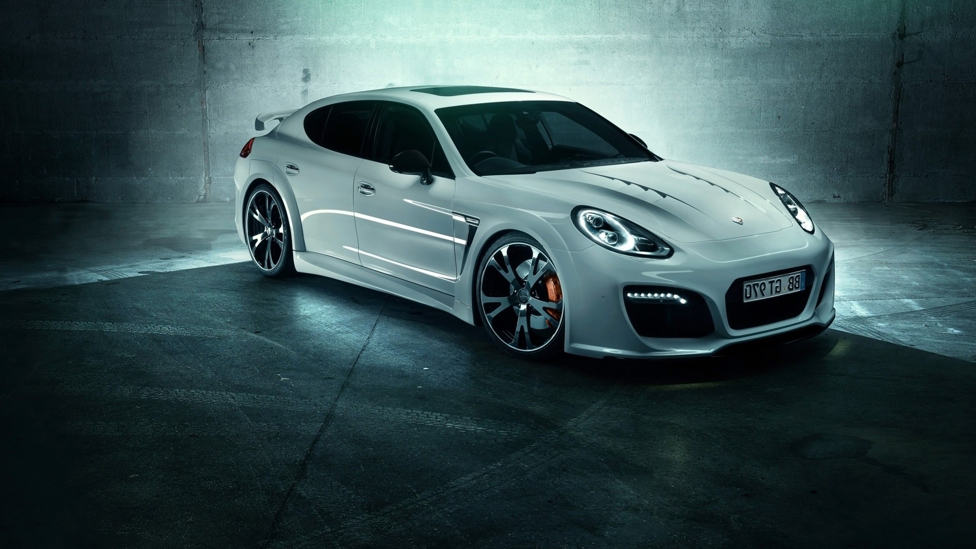 Porsche Panamera S Black White Stock Photo