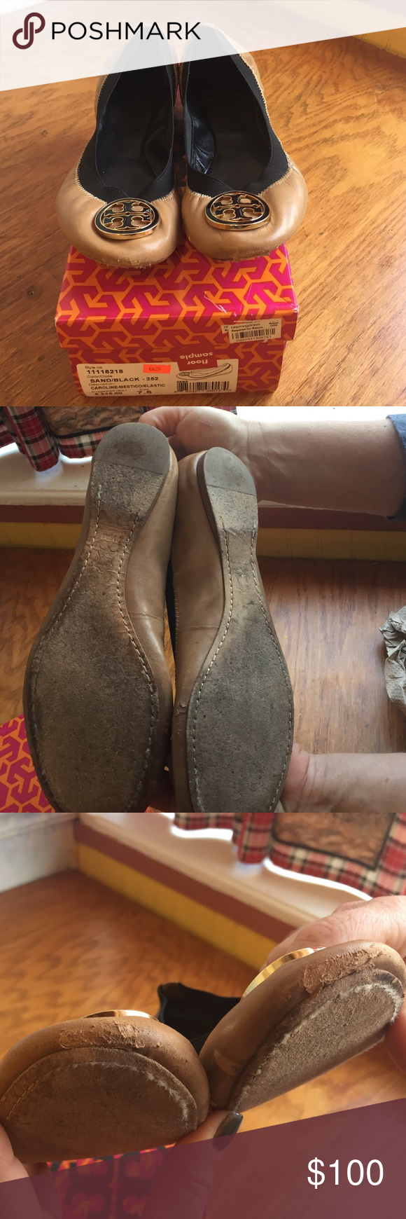 Tory Burch Caroline-Mestico/Elastic These Tory Burch Flats are super comfortable.  They have been worn a lot and are broken in; however they are in good condition. There is scuffing by the toes Tory Burch Shoes Flats & Loafers