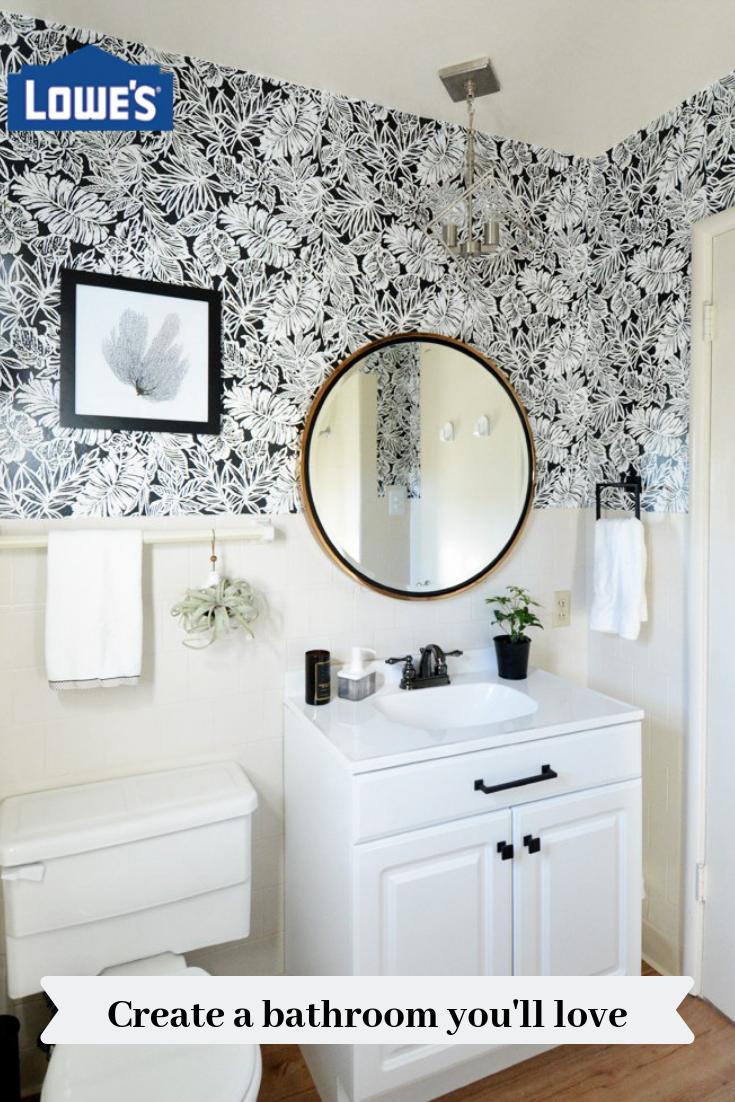 At Lowe S We Offer A Huge Variety Of Bathroom Remodel Ideas To Make Your Bathroom As B Bathroom Makeover Black White Bathrooms Interior Design Bedroom Teenage