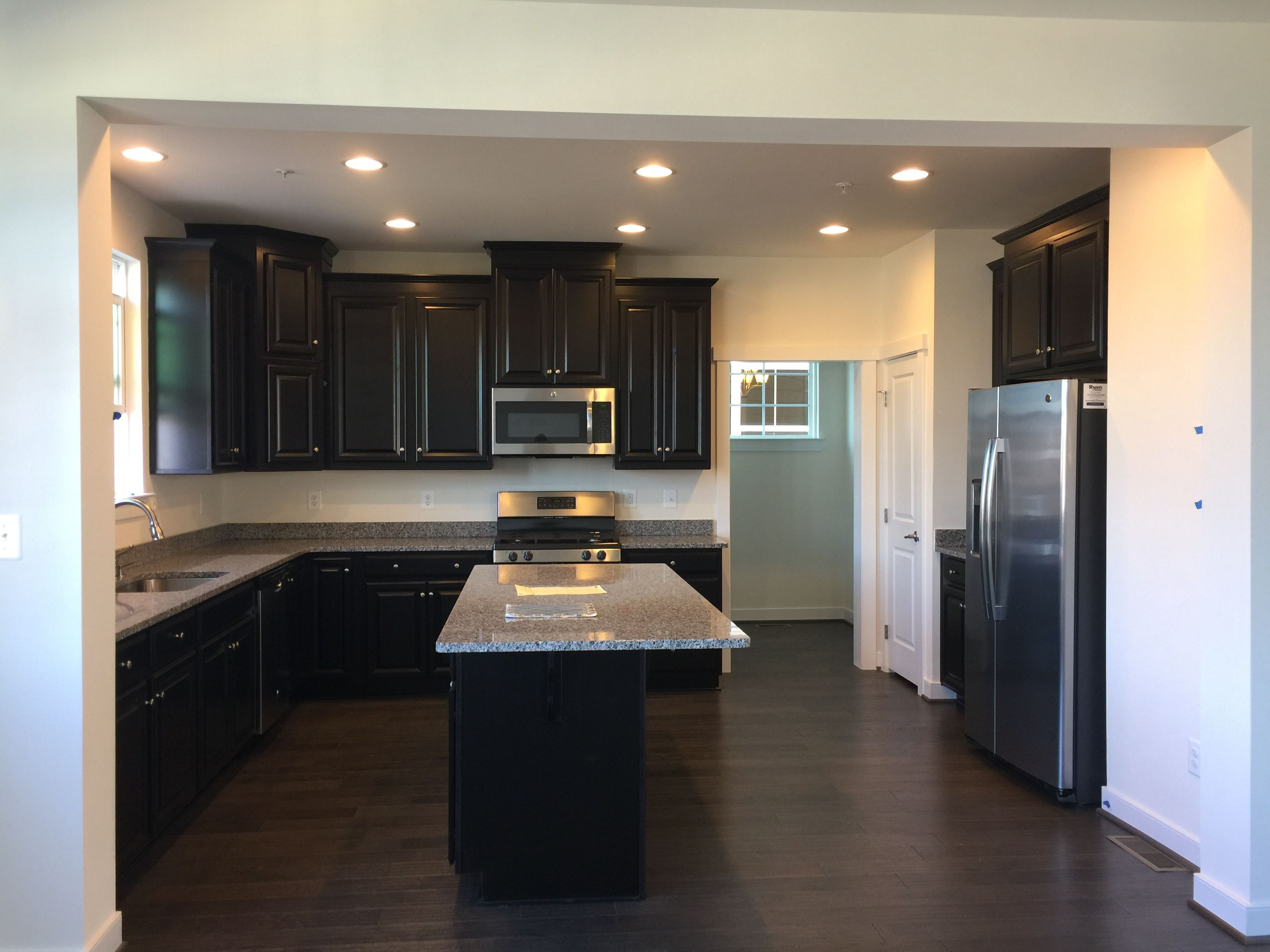 "Kitchen Ideas Espresso Cabinets misty grey 5"" hardwood, espresso cabinets, new caledonia granite"