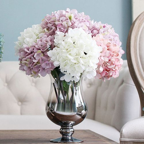 1 Bouquet Artificial Hydrangea Flower Bunch Wedding Party Floral Decor Craft Affiliate Fake Flowers Artificial Hydrangea Flowers Floral Decor