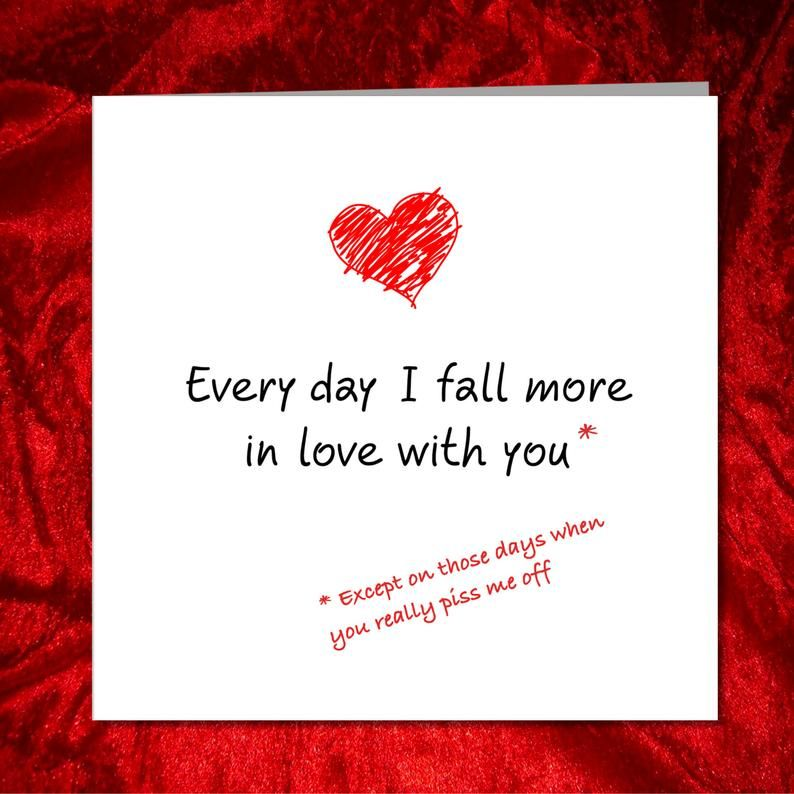 Funny Valentines Day Card for boyfriend girlfriend husband