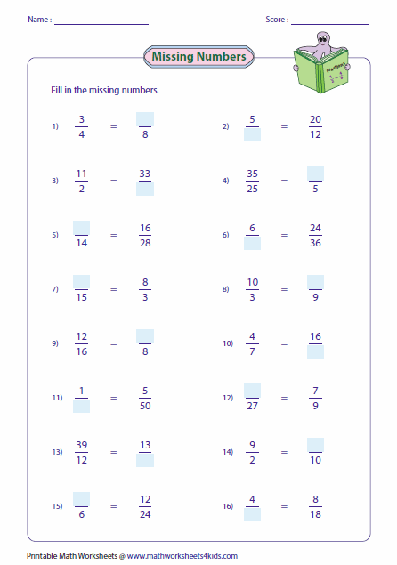 Missing Numbers | Μαθηματικά | Pinterest | Equivalent fractions ...