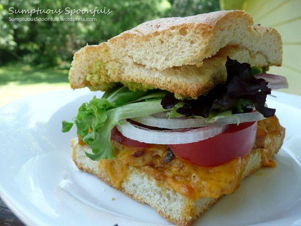 Cheddar Chile Chicken Avocado Sandwich on Toasted Focaccia