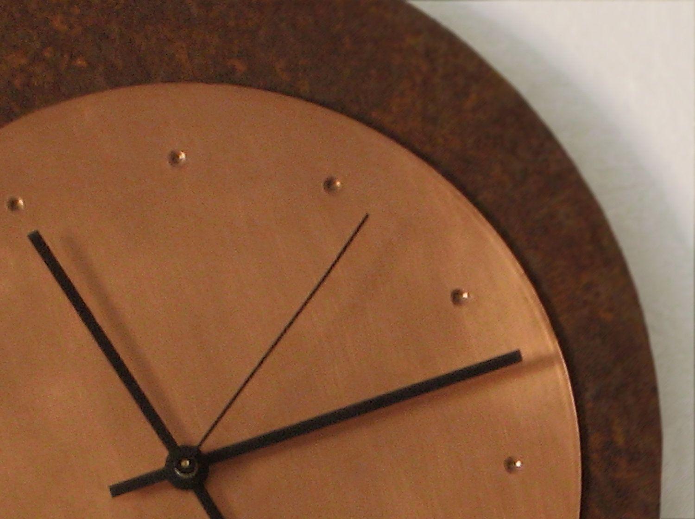 Oxidized Iron Copper Modern Large Wall Clock Etsy Large Wall Clock Clock Wall Clock