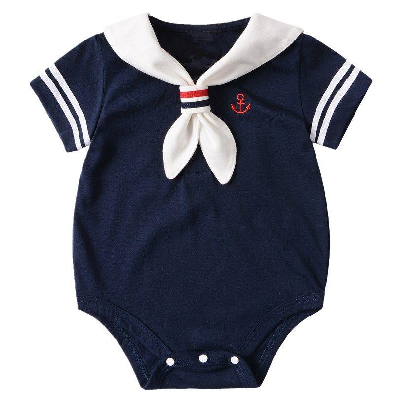 8b44551d38 Barato Marinheiro da marinha Macacão de Bebê de Verão de Manga Curta  Meninas Jumpsuit Romper Do