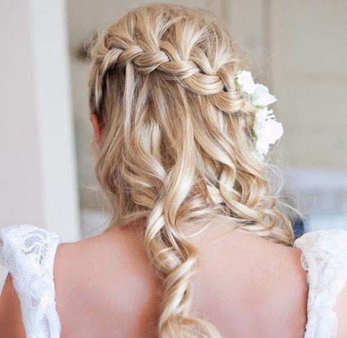 Curly hair with braid