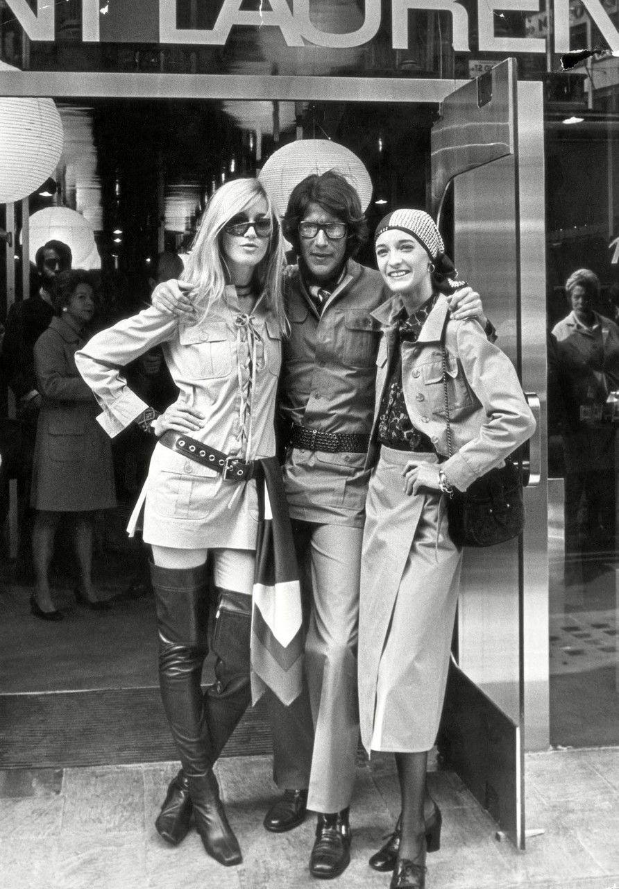 Yves Saint Laurent with Betty Catroux and Loulou de la Falaise, September 1969